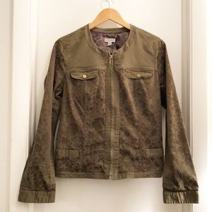 Guess Floral Accent Jacket Army Green Size XL